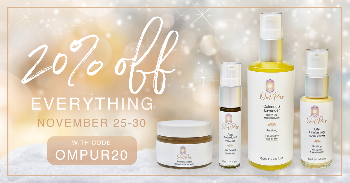 om pur organic natural skincare holiday 2020 sale